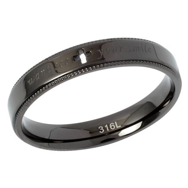 ペアリング 2本セット ステンレス 指輪 メンズ レディース ピンクゴールド ガンメタル クロスの透かしデザイン|delacruz|04