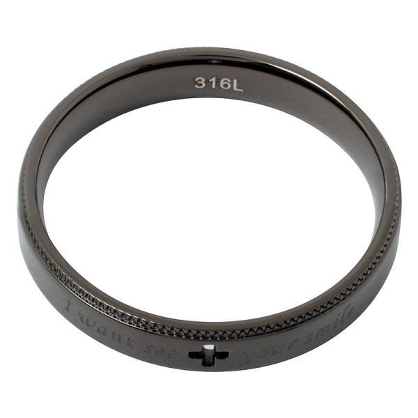 ペアリング 2本セット ステンレス 指輪 メンズ レディース ピンクゴールド ガンメタル クロスの透かしデザイン|delacruz|06