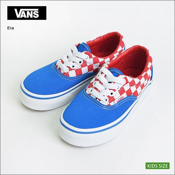 VANS KIDS バンズ キッズ VN0A38H8MJ4 KIDS ERA Checkerboard Racing Red/Imperial Blue バンズ キッズ エラ チェッカーボード 子供用スニーカー 2017SP|delicious-y