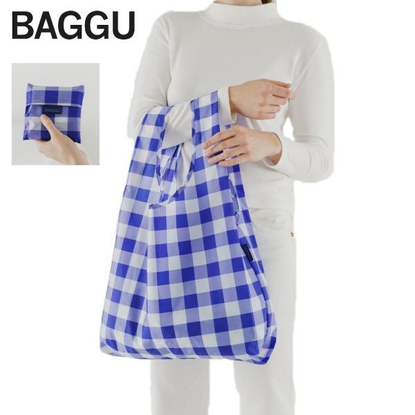 メール便 BAGGU バッグ STANDARD スタンダード【BIG CHECK BLUE】チェック ブルー 青 エコバッグ ナイロンバッグ ショッピングバッグ トートバッグ|delicious-y