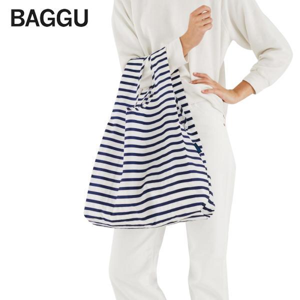 メール便 BAGGU バッグ STANDARD スタンダード【Sailor Stripe】ストライプ ネイビー ホワイト エコバッグ ナイロンバッグ ショッピングバッグ トートバッグ|delicious-y