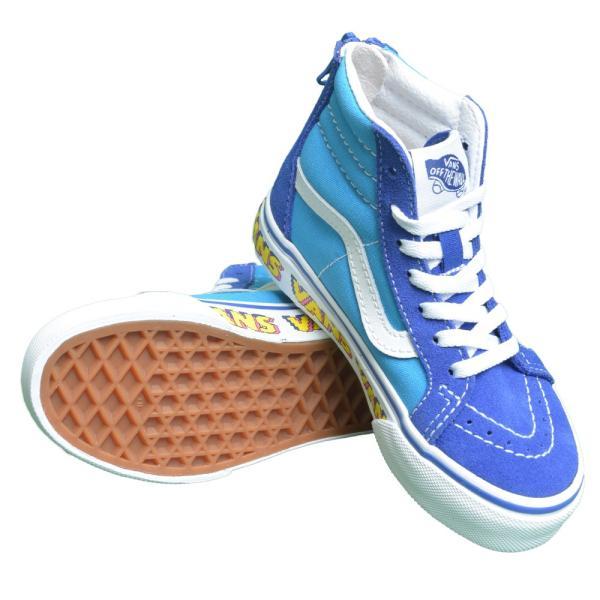 VANS KIDS バンズ キッズ VN0A4BUXXNM SK8-HI ZIP V Arcade Dresden Blue True White スケートハイジップ ブルー ホワイト 子供 靴 スニーカー delicious-y 03