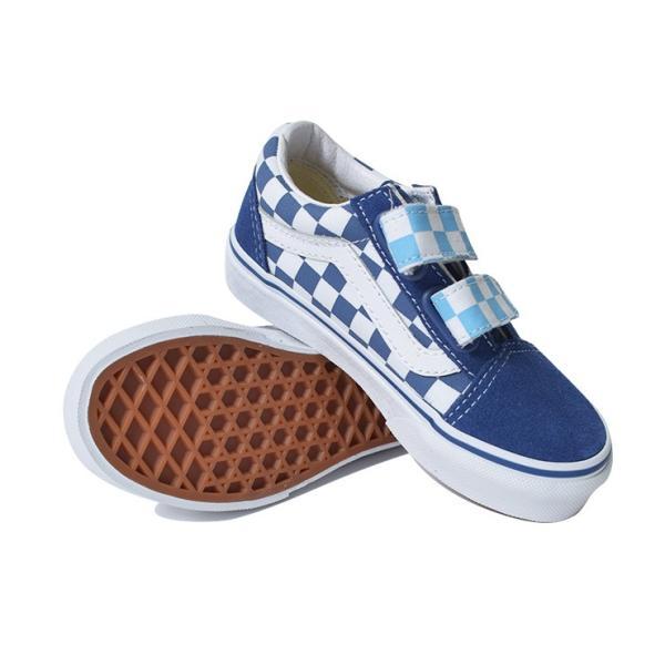 VANS KIDS バンズ キッズ VN0A38HDVDX OLD SKOOL V Checkerboard オールドスクールV ブルー 子供 靴|delicious-y|02