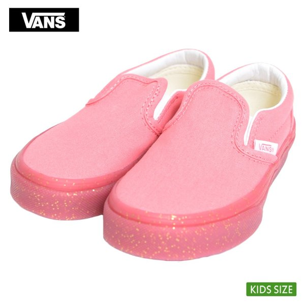 VANS KIDS バンズ キッズ VN0A32QIVUM CLASSIC SLIP ON Glitter Outsole Pink Gold Glitter クラシックスリッポン ピンク グリッター ラメ 子供 靴|delicious-y