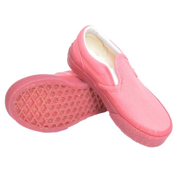 VANS KIDS バンズ キッズ VN0A32QIVUM CLASSIC SLIP ON Glitter Outsole Pink Gold Glitter クラシックスリッポン ピンク グリッター ラメ 子供 靴|delicious-y|03