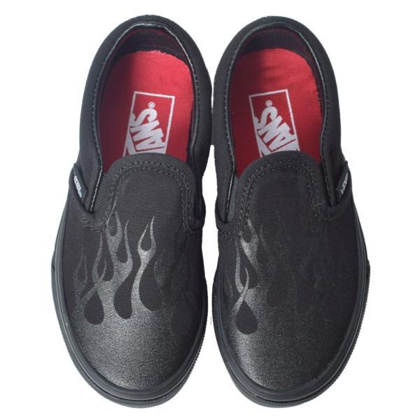 VANS KIDS バンズ キッズ VN0A4BUTV4E CLASSIC SLIP-ON (Glossy Flame) Black/Black クラシックスリッポン ブラック 黒 子供 靴|delicious-y|02