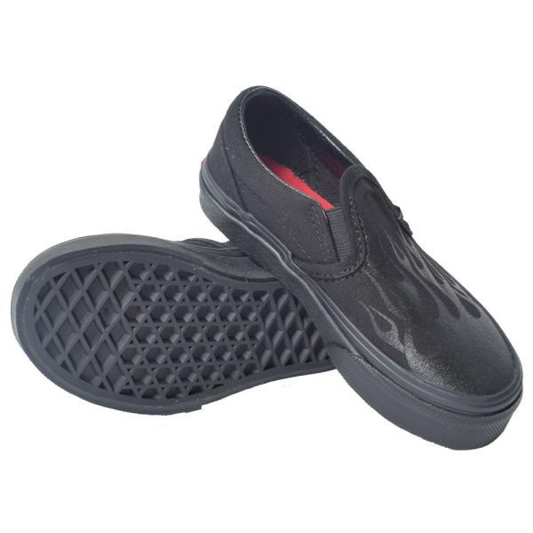 VANS KIDS バンズ キッズ VN0A4BUTV4E CLASSIC SLIP-ON (Glossy Flame) Black/Black クラシックスリッポン ブラック 黒 子供 靴|delicious-y|03