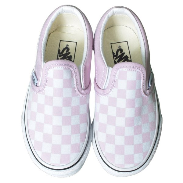 VANS KIDS バンズ キッズ VN0A4BUTUY4 CLASSIC SLIP-ON (Checkerboard) Lilac Snow/True White クラシックスリッポン ピンク ホワイト 子供 靴|delicious-y|02