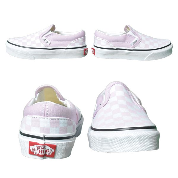 VANS KIDS バンズ キッズ VN0A4BUTUY4 CLASSIC SLIP-ON (Checkerboard) Lilac Snow/True White クラシックスリッポン ピンク ホワイト 子供 靴|delicious-y|04