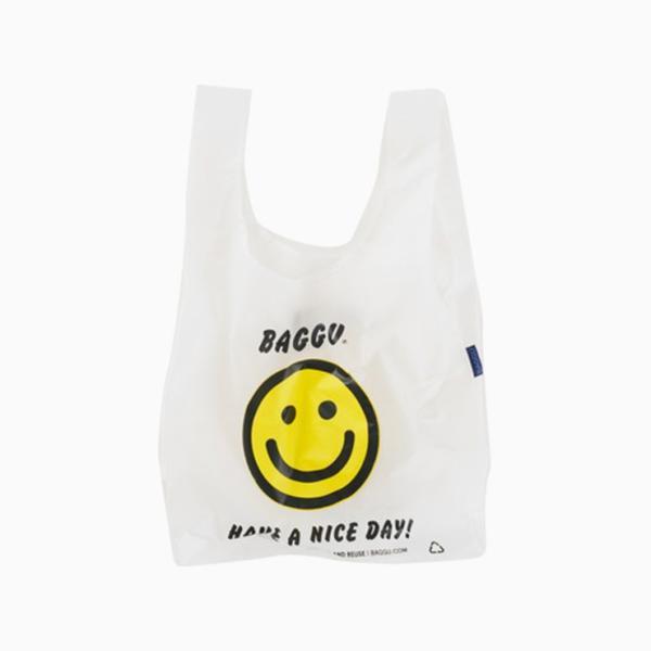 メール便 BAGGU バッグ THANK YOU HAPPY サンキューハッピー スマイル エコバッグ ナイロンバッグ ショッピング トートバッグ