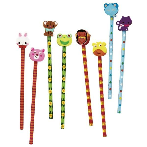 ネコポス発送対応可(2セットまで)どうぶつ消しゴム付えんぴつ 24本1セット 子ども会 イベント プチギフト 文房具 筆記用具 鉛筆