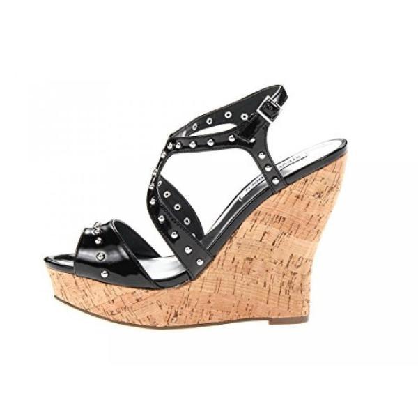 スティーブマデン ブーツ レディース Steve Madden Women's Pila Black Patent Sandal 9.5 M 日本未入荷