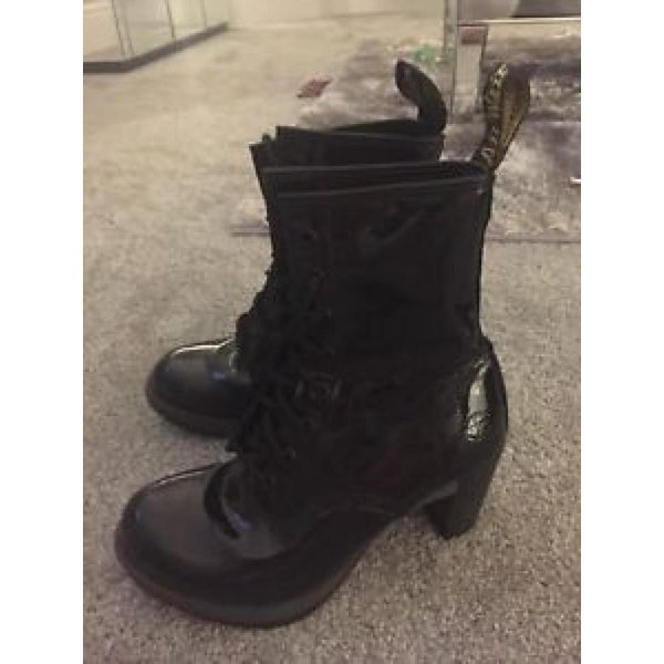 ドクターマーチン ブーツ レディース Doctor Martens Boots Black Patent Leather (doc Dr Diva High Heels) Size 5 レースアップ