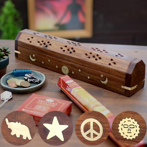 お香立て 木製 ボックス型 おまけ付き 箱型 おしゃれ お香たて香炉 シーシャム ウッド
