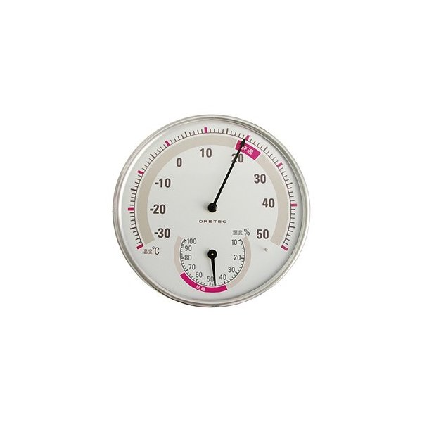 ドリテック 温湿度計 アナログ式 快適温度・湿度範囲目盛付 ホワイト 電池不要 O-310WT