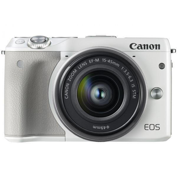 新品 Canon ミラーレス一眼カメラ EOS M3 レンズキット(ホワイト) EF-M15-45mm F3.5-6.3 IS STM 付属 EOSM3WH-1545ISSTMLK[在庫あり][即納可]