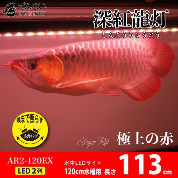 アロワナ ライト 紅龍 120cm水槽用 深紅龍灯 スーパーレッド レベル2 EX LED 2列 水中 照明 水中蛍光灯 でんらい AR2-120-EX AR2-EX 送料無料