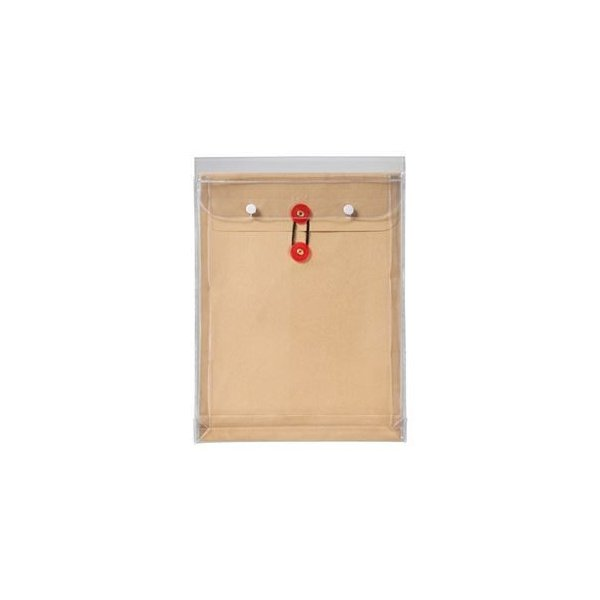 ds-1584527 (まとめ) ピース マチヒモ付ビニール保存袋 レザック 角2 184g/m2 茶 912 1枚 【×15セット】 (ds1584527)
