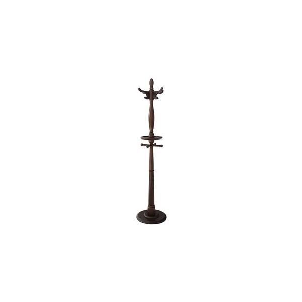 ds-1806876 ポールハンガー/衣類収納 【小物収納トレー付き】 幅39.5×奥行39.5×高さ178cm 木製 360度回転式フック付き