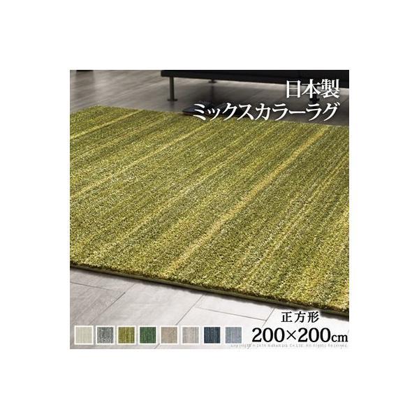 ナカムラ 33100248valgr 洗える ミックスカラーラグ 〔ルーナ〕 200x200cm (ライトグレー)