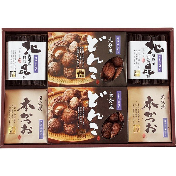 4970750010580 日本三大だし 椎茸・鰹節・昆布 詰合せ(包装・のし可)