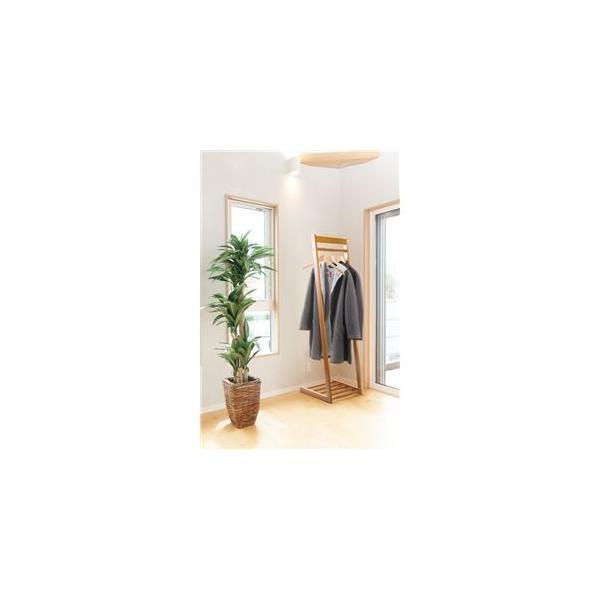 ds-2202248 天然木 L型 ハンガーラック/コートハンガー 【ブラウン 幅40cm】 棚付き 木製 ロングコート可【代引不可】 (ds2202248)