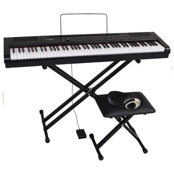 PA-88H+_BKSET Artesia 電子ピアノ 初心者セット 88鍵 ハンマーキー PA-88H+/BK ブラック (サスティンペダル/スタンド/椅子/ヘッドフォン付属)