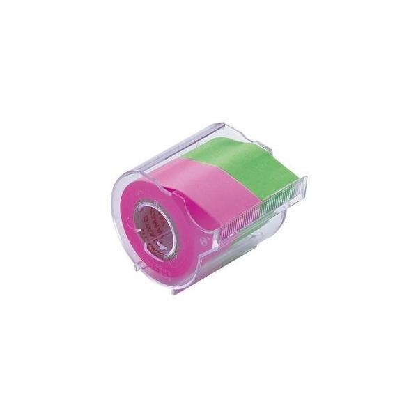 ds-2237084 (まとめ) ヤマト メモック ロールテープ カッター付 25mm幅 ローズ&ライム NORK-25CH-6B 1個  【×30セット】 (ds2237084)
