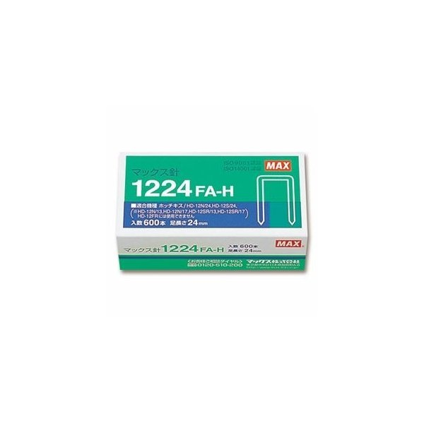 ds-2233343 (まとめ) マックス ホッチキス針 大型12号シリーズ 100本連結×6個入 1224FA-H 1箱  【×10セット】 (ds2233343)