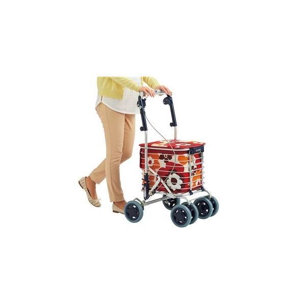 ds-2335953 アルミワイヤー キャリーカート/ショッピングカート 【花柄レッド】 幅50cm軽量 『スワレル』 〔お買い物〕