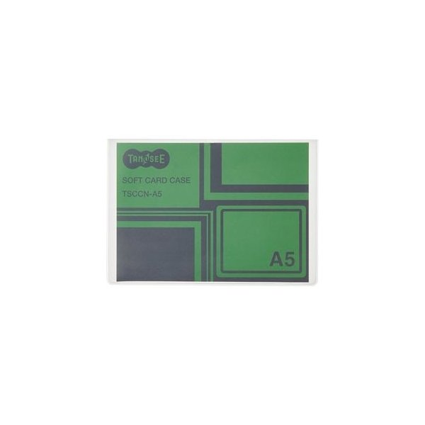 ds-2364464 (まとめ)TANOSEE ソフトカードケース A5 半透明(梨地クリア) 再生オレフィン製 1セット(20枚) 【×5セット】 (ds2364464)