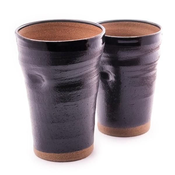 ペア ビアカップ・黒釉