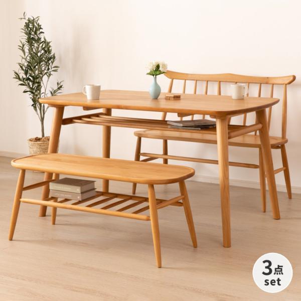 ダイニングセット 3点  ベンチ テーブル 背付きベンチ ノルン (IS)|denzo