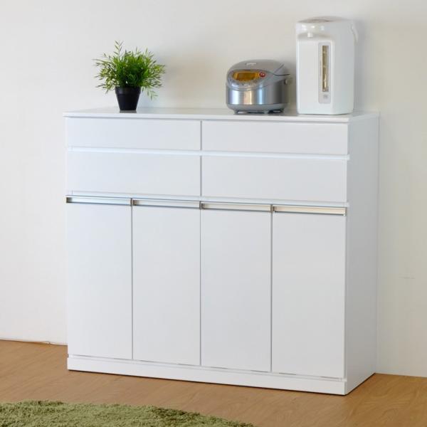 キッチン収納 キッチン ダストボックス キャビネット 幅100 高さ90 カウンター  ホワイト パール 4D (IS)|denzo|02
