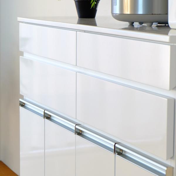 キッチン収納 キッチン ダストボックス キャビネット 幅100 高さ90 カウンター  ホワイト パール 4D (IS)|denzo|04