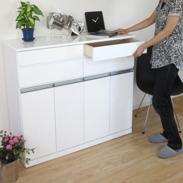 キッチン収納 キッチン ダストボックス キャビネット 幅100 高さ90 カウンター  ホワイト パール 4D (IS)|denzo|05