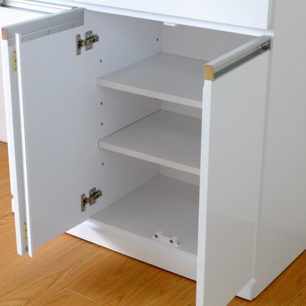 キッチン収納 キッチン ダストボックス キャビネット 幅100 高さ90 カウンター  ホワイト パール 4D (IS)|denzo|06