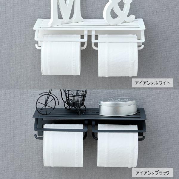 トイレットペーパーホルダー ツインタイプ 2連 棚付2連紙巻器 ブラック ホワイト 送料無料 デコラ トイレット ペーパー ホルダー (IS)|denzo|03
