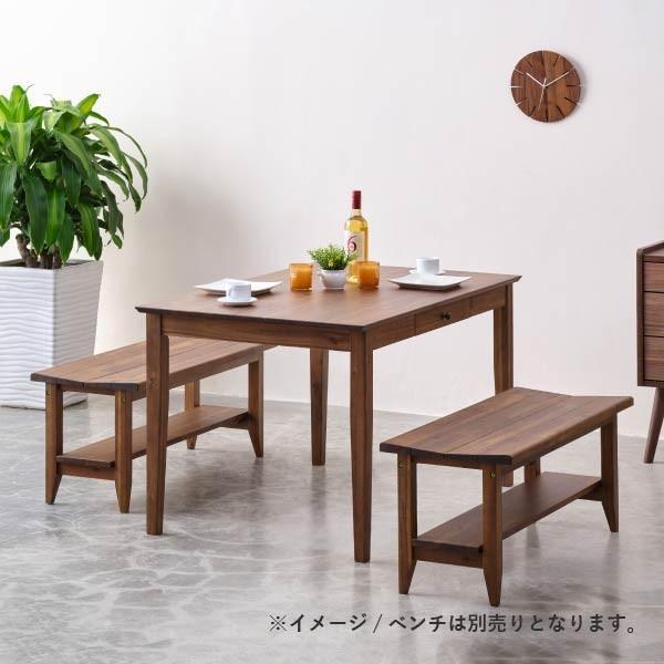 ダイニングテーブル 単品 木製 アカシア 無垢 ダイニング 食卓 4人掛け おしゃれ リティオ ダイニングテーブル 120 (ミディアムブラウン)(IS) denzo 02