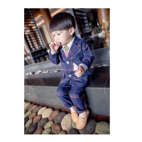 キッズスーツ 男児 タキシード 90~120cm 2点セット 子供 男の子 英国風タキシード こどもスーツ フォーマル紳士服 七五三 入学式 誕生日 入園式|deris|02