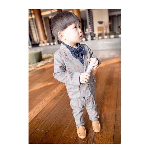 キッズスーツ 男児 タキシード 90~120cm 2点セット 子供 男の子 英国風タキシード こどもスーツ フォーマル紳士服 七五三 入学式 誕生日 入園式|deris|03