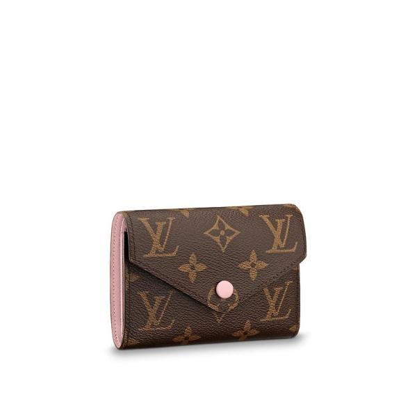 on sale 86412 ad899 ルイヴィトン LOUIS VUITTON 財布 小財布 三つ折り 3つ折り モノグラム ブラウン ローズバレリーヌ ピンク ゴールド LV ロゴ