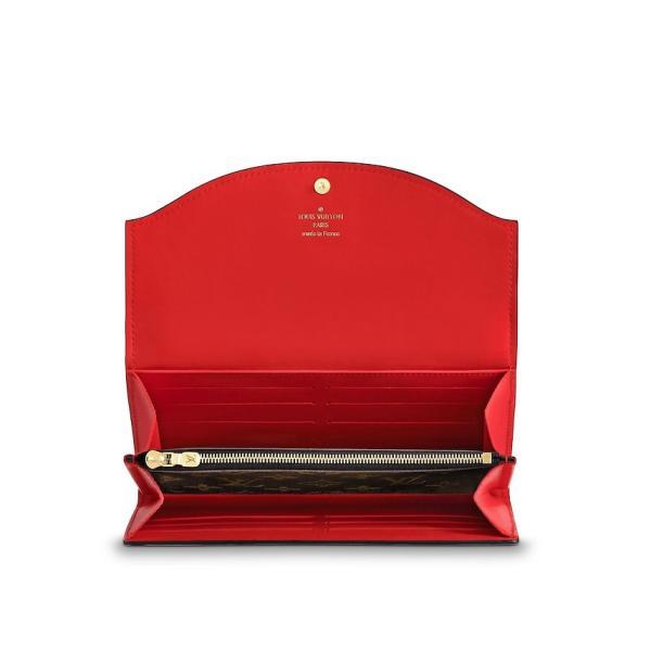 ルイヴィトン LOUIS VUITTON 財布 長財布 フラップ かぶせ 二つ折り 2つ折り モノグラム ブラウン マロン レッド ゴールド レザー 本革