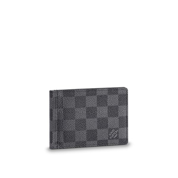 free shipping d94a2 64adf ルイヴィトン LOUIS VUITTON 財布 小財布 二つ折り 2つ折り マネークリップ ダミエ グラフィット ブラック グレー シルバー