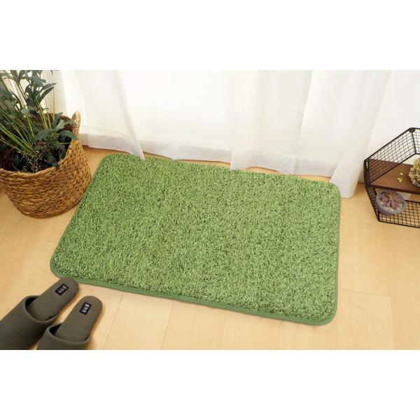 ふっくら贅沢な芝生風玄関マット 屋内 室内 洗える 滑りにくい加工 シーヴァ 約50×80cm 240622960 hgi-7801750s1