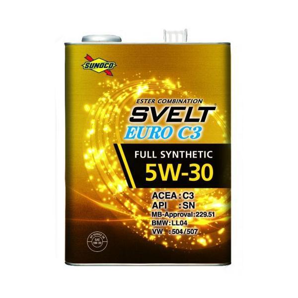 SUNOCO スノコ エンジンオイル SVELT EURO スヴェルトユーロ C3 5W-30 4L缶 | C3 5W30 4L 4リットル オイル 交換 人気 オイル缶 油 車検 車 オイル交換