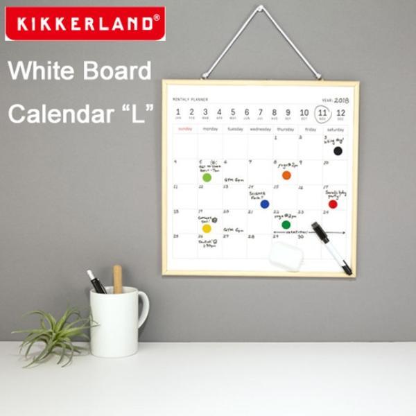 キッカーランド ホワイトボードカレンダー L 壁掛け 木製 おしゃれ 予定表 スケジュール マグネット インテリア Kikkerland