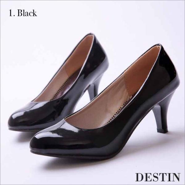パンプス レディース ローヒール ピンヒール ハイヒール 大きいサイズ 痛くない 黒 エナメル 靴