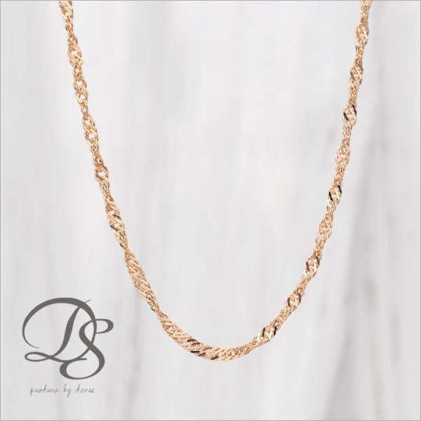 ピンクゴールド チェーンネックレス 幅1.6mm スクリュー K18 PG  18k 18金 女性 レディース ネックレス ロング|devas