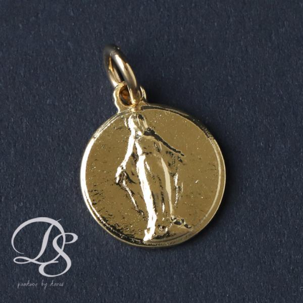 マリアペンダント 18金ペンダントトップ ゴールド アンティーク感ある丸いコインシェイプ